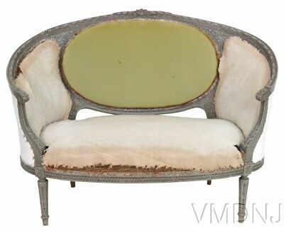 VMD59-Antique Distressed Painted Louis XVI Style Sofa