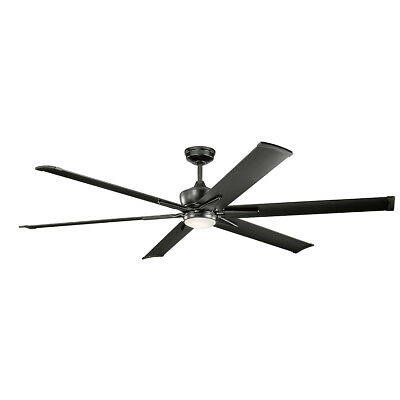 "Kichler 300301SBK Szeplo Patio 80"" Outdoor Ceiling Fan With Light In Satin Black"