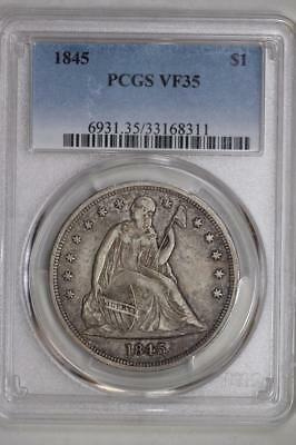 1845 Seated Liberty Dollar VF35 PCGS US Mint $1 Silver Coin