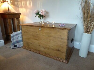 Antique Victorian  Pine Old  Vintage  Chest / Trunk/ Blanket Box Coffee Table