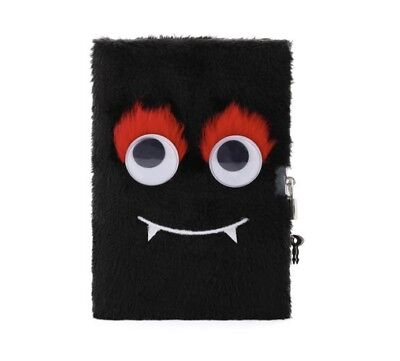 Boys Fluffy Black Lockable Monster Diary Journal Birthday lock key Christmas