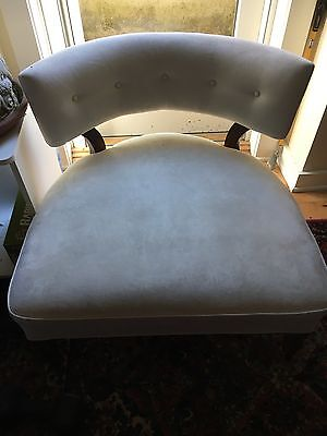 Pair Baker Mid Century Chairs Cream Microfiber