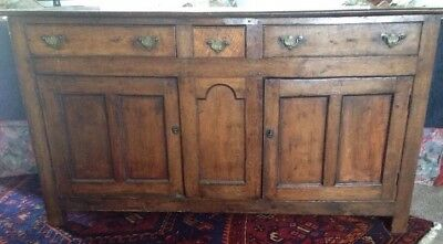 Antique English Country Handmade Oak Sideboard C. 1770s