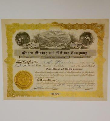 1924 Queen Mining and Milling Company State of Washington Stock Certificate