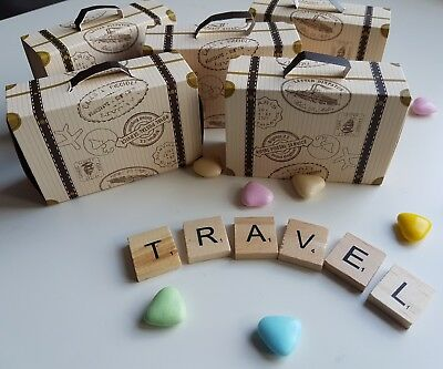 10 Vintage Style Mini Suitcase Favour Boxes Travel Themed Wedding .sweets, Candy