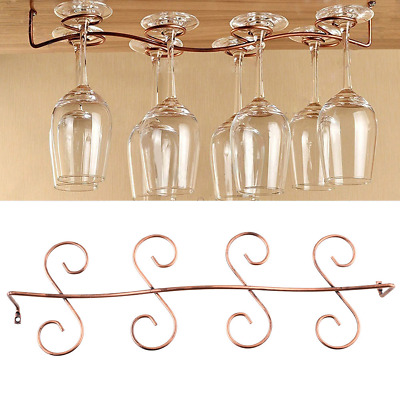 8 Wine Glass Rack Stemware Hanging Under Cabinet Holder Bar Kitchen Display