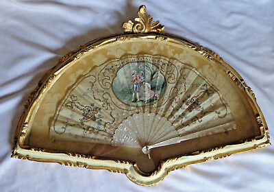 Rare Antique Museum Quality Hand Painted Signed Silk Fan Mother of Pearl Framed