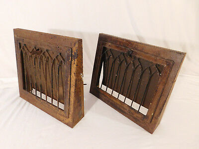 "2 Vintage Baseboard-Floor-Wall Heat Register Vent Grate -- Metal 15"" x 14"""