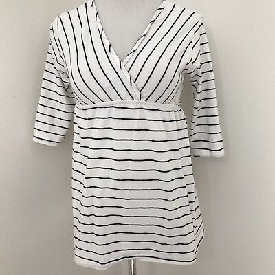 Oh Mamma Striped Maternity Top V Neck XS White Black 3/4 Sleeve D56