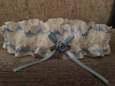 BLUE Edged White LACE Wedding BRIDAL GARTER with Swarovski Beads