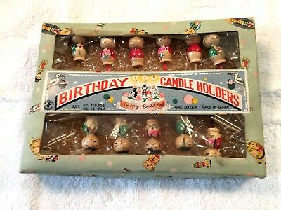 Vintage Kokeshi Dolls Eleven Birthday Candle Holders W/ Org. Box & Pkg Material
