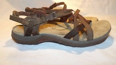 MERRELL Jacardia Dark Earth Women's Brown Leather Strappy Sandals Size 8