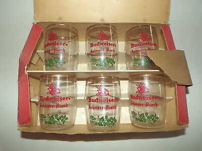 6 VINTAGE BUDWEISER CRESTED TUMBLERS GLASSES in BOX