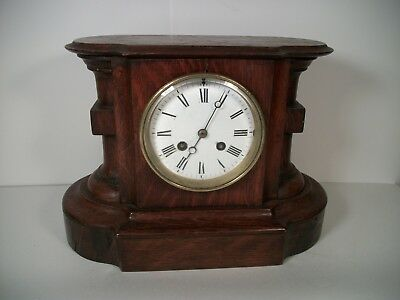 Japy Freres Mantle Shelf Clock 8 day Bell Strike Rare Wood Case No Reserve