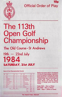 1984-113th OPEN CHAMPIONSHIP GOLF OFFICIAL ORDER OF PLAY-SAT-21/7/84-@ST ANDREWS