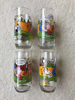 """(4) Collectable 1965 McDonalds """"Camp Snoopy"""" Glass, Never Used, Vibrant Colors!"""