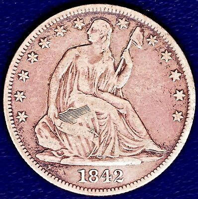 1842-O Seated Liberty 50c; Medium Date; Rev of 42; Really Nice VF