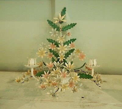FABULOUS OLD ITALIAN TOLE~Flowered WALL SCONCE CANDLE HOLDER~ Shabby PATINA