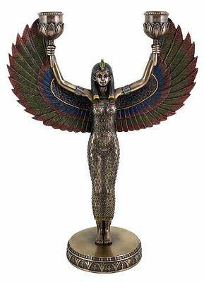 "12.5"" Egyptian Isis Candelabra Statue Sculpture Figurine Goddess of Magic"