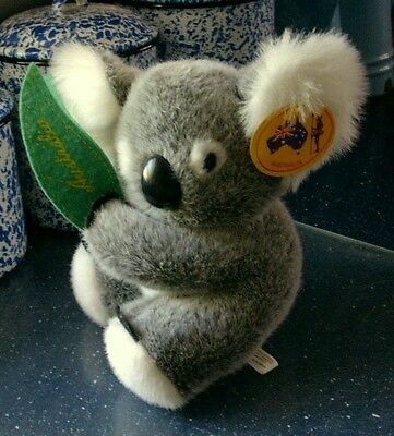 "Jimmy's Soft Toy PLUSH KOALA w/Gum Leaf, 9"" Tall Designed in Australia"