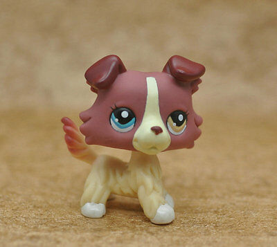 Rare #1262 Littlest Pet Shop Red Brown Collie Dog Puppy Blue Brown Eyes LPS Toy