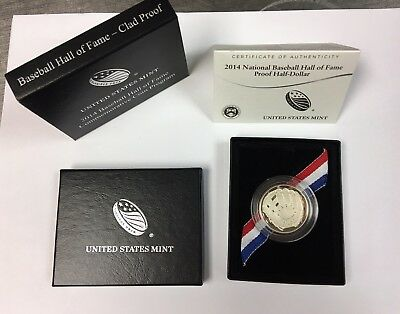 2014 US MINT MLB Baseball Hall of Fame Uncirculated HALF DOLLAR W/ COA