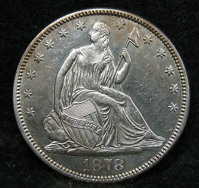 1878 Seated Liberty Silver Half Dollar CH Uncirculated++ Prooflike Album Toning!