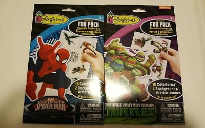 Colorforms Fun Pack Lot Reusable Sticker Set Ultimate Spider-Man/TMNT