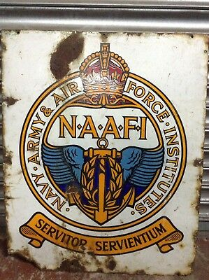Antique Vintage NAAFI Military Army Navy Air Force Pictorial Enamel Sign