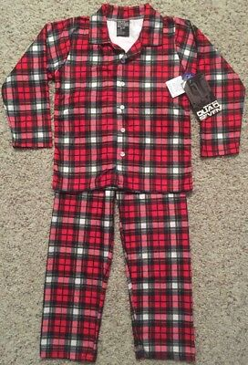 New Boys Size 5/6 Winter Pajama Set Red Black Plaid Flannel Button Shirt Pants