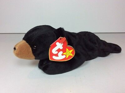 6c189fa38e8 NEW TY Beanie Baby BLACKIE BLACK BEAR BROWN NOSE TAG DATE ERROR 1993 1994  NOS