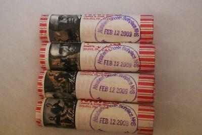 2009 Lincoln Penny Rolls X4 Stamped & Cancelled Presidency 11-12-09 D.c.
