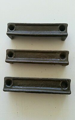 3 Matching   Cast Iron Door Rim Lock Keeper  Catch Strike Plate 3 5/8""