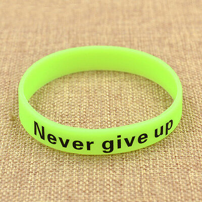 Green Never Give Up Hand Ring Glow In Dark Silicone Rubber Bracelet Wrist Strap