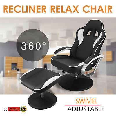 Recliner relax lounge Chair W/ Ottoman Office Seat Racing Rolling Ergonomic