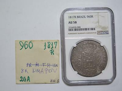 Brazil 1817 R 960 Reis Ngc Au58 Over 8 Reales Ex:kurt Prober Coin Collection Lot