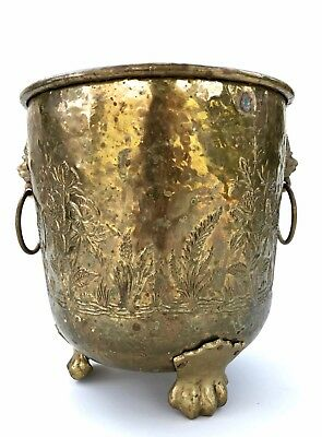 Large Antique  Brass Planter Embossed ~ Lions Head Handles & Paw Feet