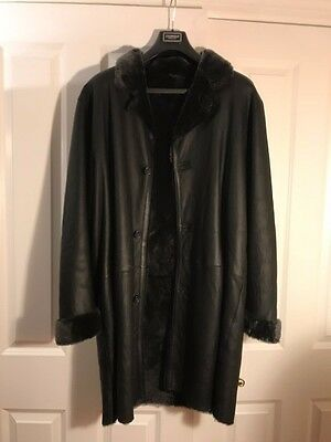 NEW Leopold Men's Black Shearling Jacket Size 52 (XL) Made in Italy