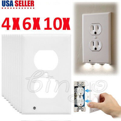 Plug Cover LED Light Sensor Night Light Wall Outlet Face Hallway Coverplate Lot
