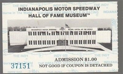 Indianapolis Motor Speedway Hall Of Fame Museum Ticket Stub