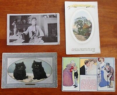 LOT OF 4 X VINTAGE MIXED POSTCARDS c1906 - 1912 COMIC KITTENS ACTRESS