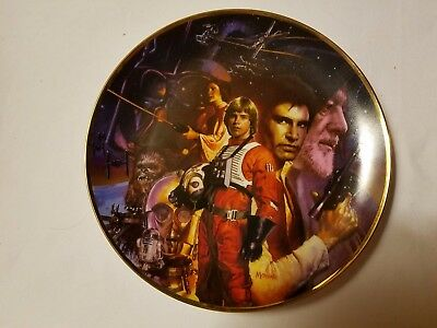 "LOT of 4  1992 STAR WARS  9 1/4"" Hamilton Collection Plates Assorted: By MORGAN"