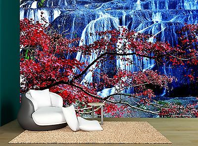 Japan Waterfall Cherry Blossom Trees Wall Mural Photo Wallpaper GIANT WALL DECOR