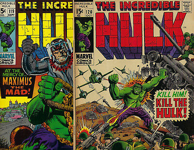 Marvel INCREDIBLE HULK # 119 and # 120  Published SEPT / OCT 1969,  BOTH FINE-VF