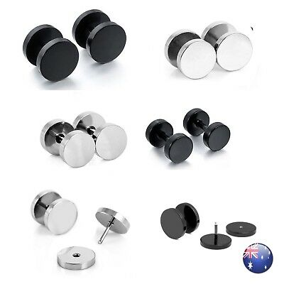 Men's Unisex Black Fake Ear Plugs Stainless Steel Stud Piercing Earrings Pair