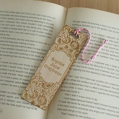 Personalised wooden bookmark Vintage flower floral design add your name L174