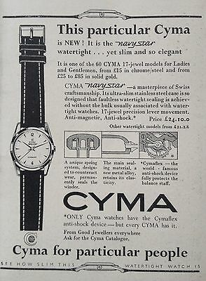 Vintage Uk 1956 Ad(Uk5)~Cyma Navy Star Watertight Watch