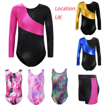UK Girl 2-14 Years Cute GYM Sport School Shiny Ballet Pink Ballet Yoga Leotard