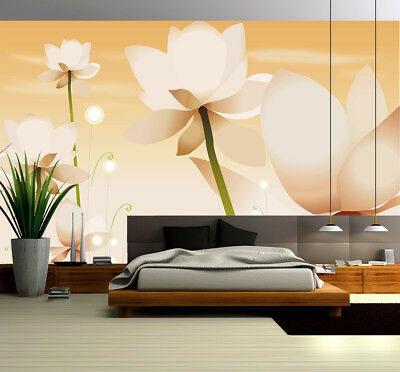 3D White Lotus 43 Wallpaper Murals Wall Print Wallpaper Mural AJ WALL AU Kyra