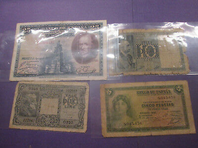 lot of 4 world old banknotes 1928, 1935, 1944